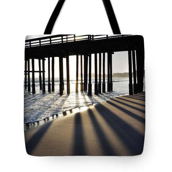 Tote Bag featuring the photograph Ventura Pier Shadows by Kyle Hanson