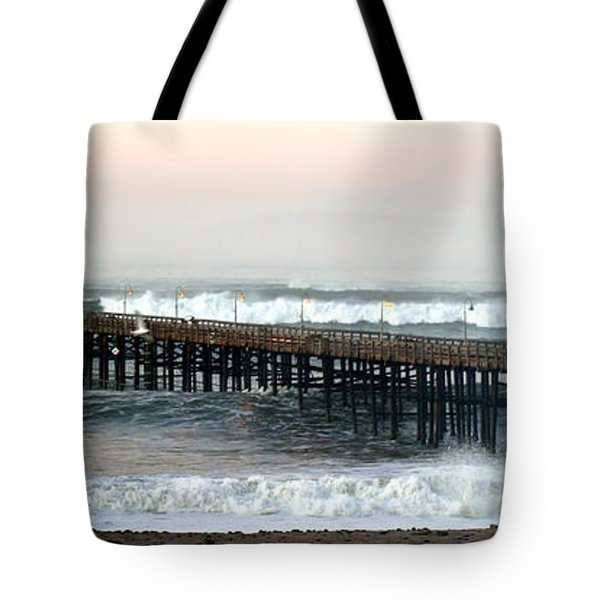 Tote Bag featuring the photograph Ventura Storm Pier by Henrik Lehnerer