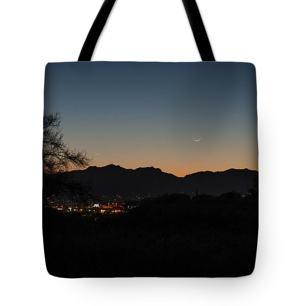Tote Bag featuring the photograph Venus And A Young Moon Over Tucson by Dan McManus