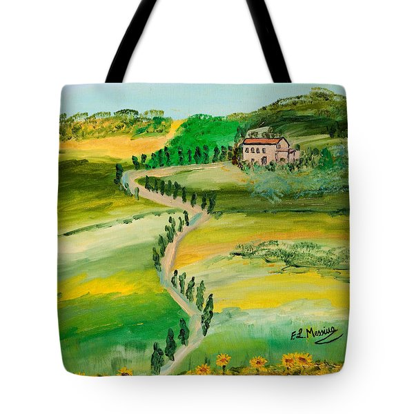 Tote Bag featuring the painting Verde Sentiero by Loredana Messina