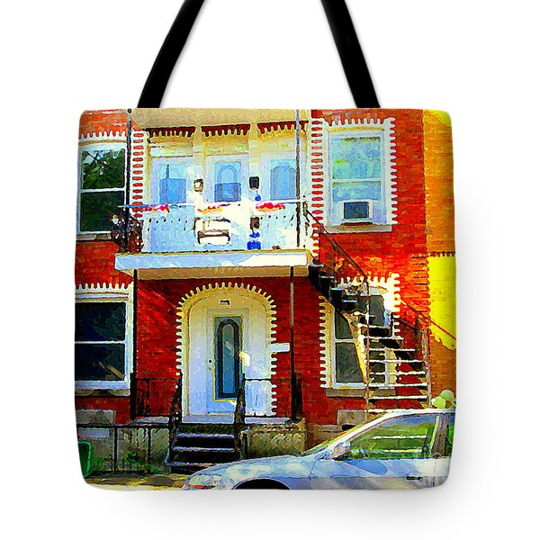 Verdun City Street Triplex Apartment Outdoor Winding Stairs Montreal Scenes Primary Colors C Spandau Tote Bag by Carole Spandau