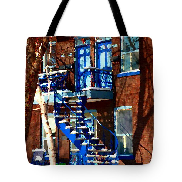 Verdun Duplex Stairs With Birch Tree Montreal Winding Staircases Winter City Scene Carole Spandau Tote Bag by Carole Spandau