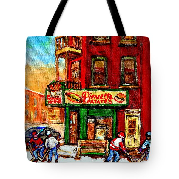 Verdun Street Hockey Pierrettes Restaurant Rue 3900 Verdun -landmark Montreal Hockey Art Work Scenes Tote Bag by Carole Spandau