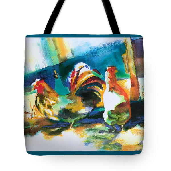 Tote Bag featuring the painting Veridian Chicken by Kathy Braud
