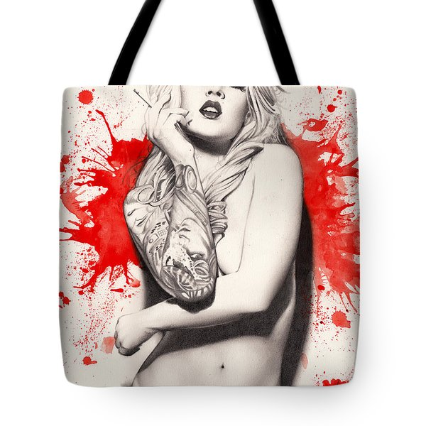 Tote Bag featuring the painting Vermillion by Pete Tapang