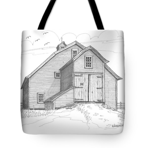 Tote Bag featuring the drawing Vermont Barn by Richard Wambach