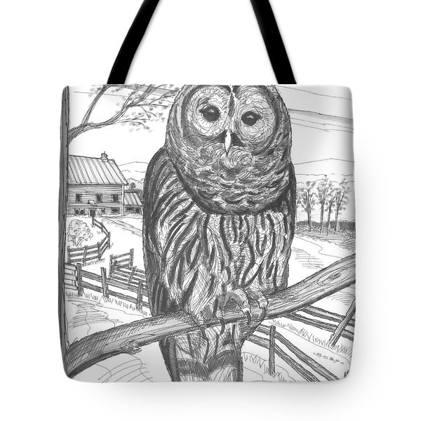 Tote Bag featuring the drawing Vermont Barred Owl by Richard Wambach