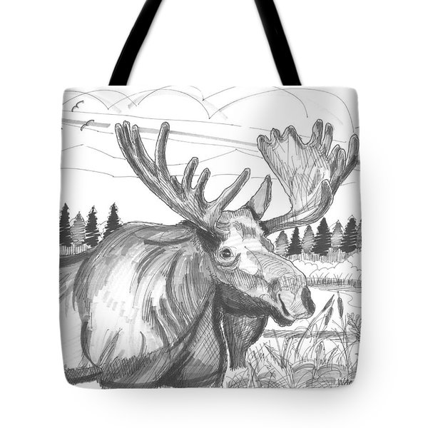 Tote Bag featuring the drawing Vermont Bull Moose by Richard Wambach