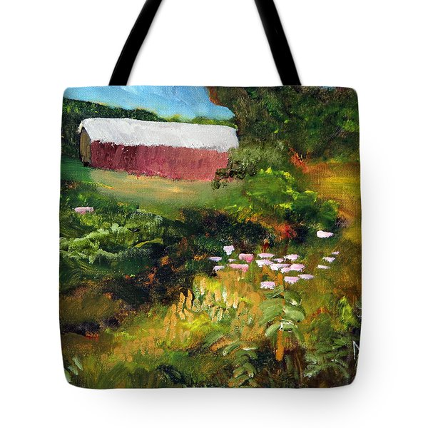 Tote Bag featuring the painting Vermont Covered Bridge by Michael Helfen