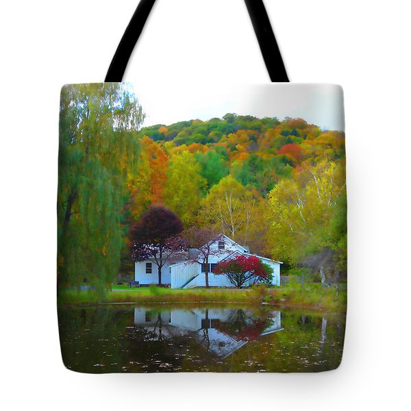 Vermont House In Full Autumn Tote Bag