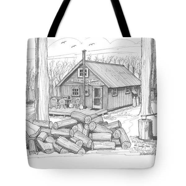 Tote Bag featuring the drawing Vermont Hunter Lodge by Richard Wambach