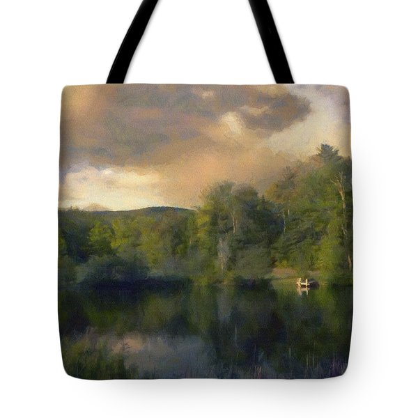 Tote Bag featuring the painting Vermont Morning Reflection by Jeff Kolker
