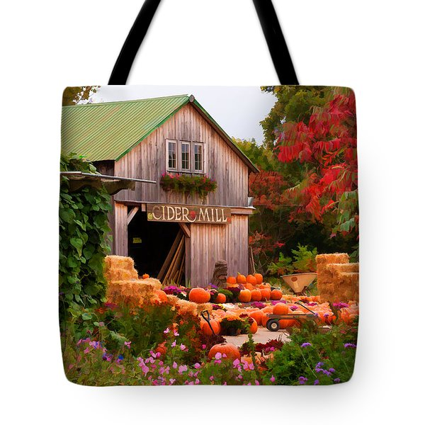 Vermont Pumpkins And Autumn Flowers Tote Bag by Jeff Folger