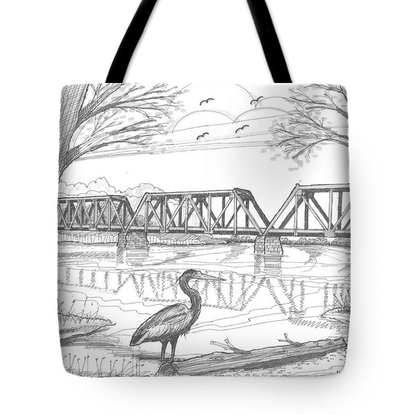 Tote Bag featuring the drawing Vermont Railroad On Connecticut River by Richard Wambach