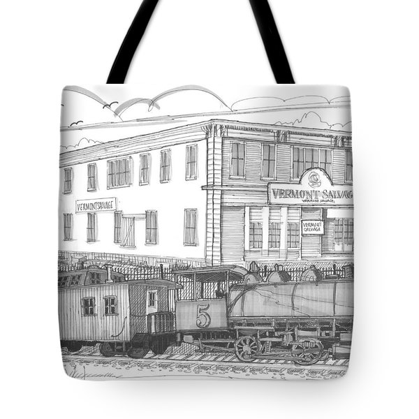 Tote Bag featuring the drawing Vermont Salvage And Train by Richard Wambach