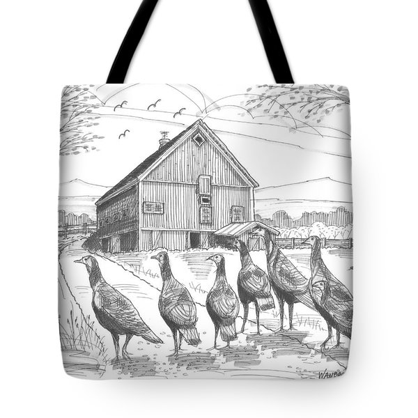 Tote Bag featuring the drawing Vermont Wild Turkeys by Richard Wambach