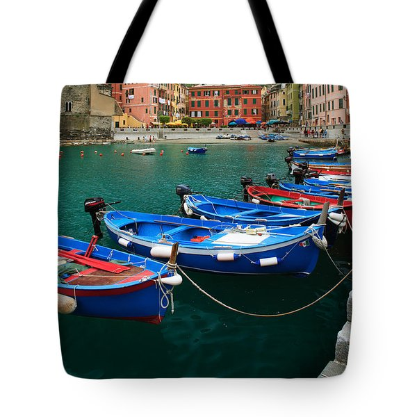 Vernazza Boats Tote Bag by Inge Johnsson