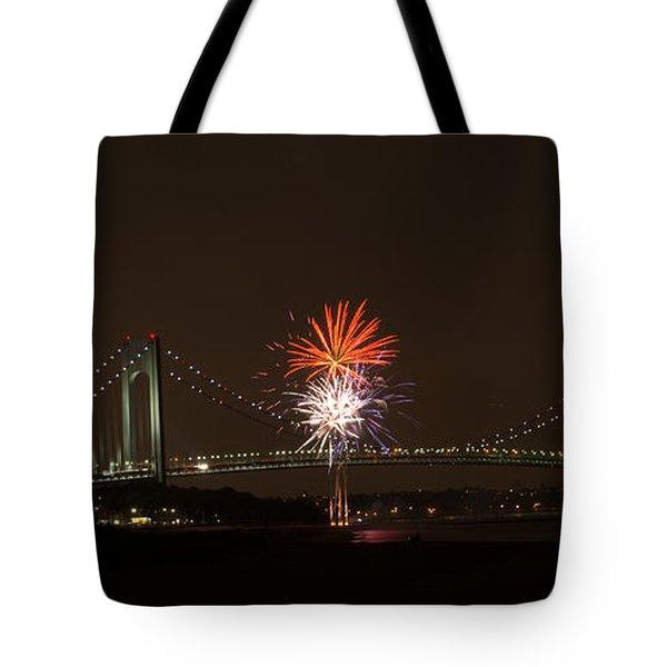 Verrazano Narrows Bridge Fireworks Tote Bag