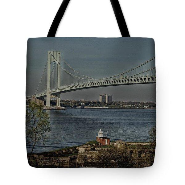 Verrazano Bridge And Fort Wadsworth Tote Bag
