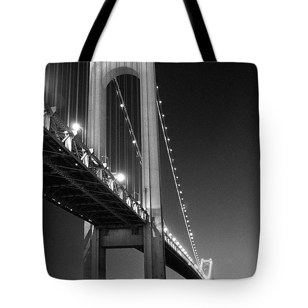 Verrazano Bridge At Night - Black And White Tote Bag by Gary Heller