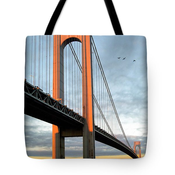 Verrazano Bridge At Sunrise - Verrazano Narrows Tote Bag by Gary Heller