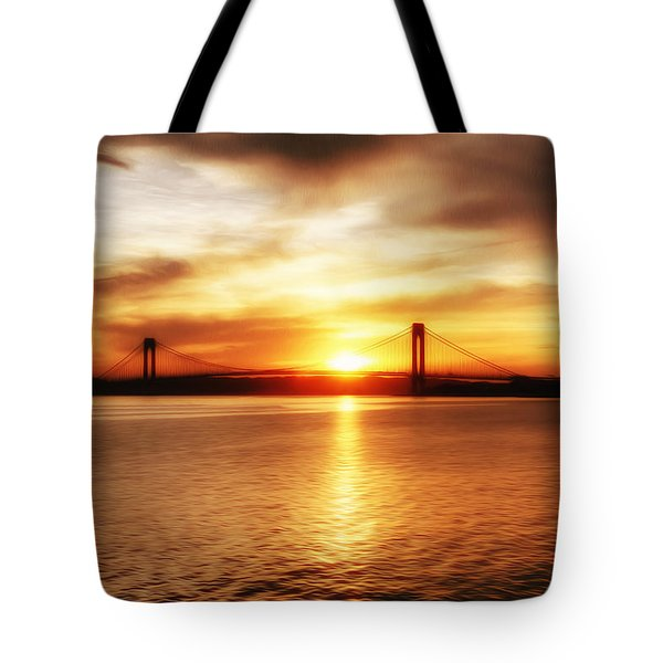 Verrazano Bridge At Sunset Tote Bag by Boris Mordukhayev