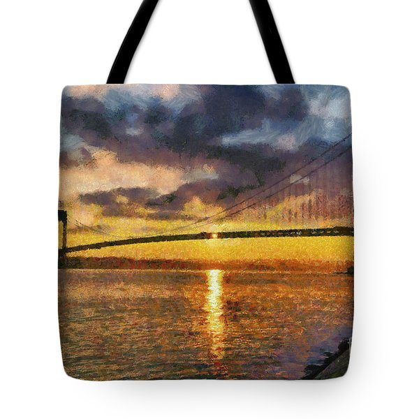 Verrazano Bridge During Sunset Tote Bag