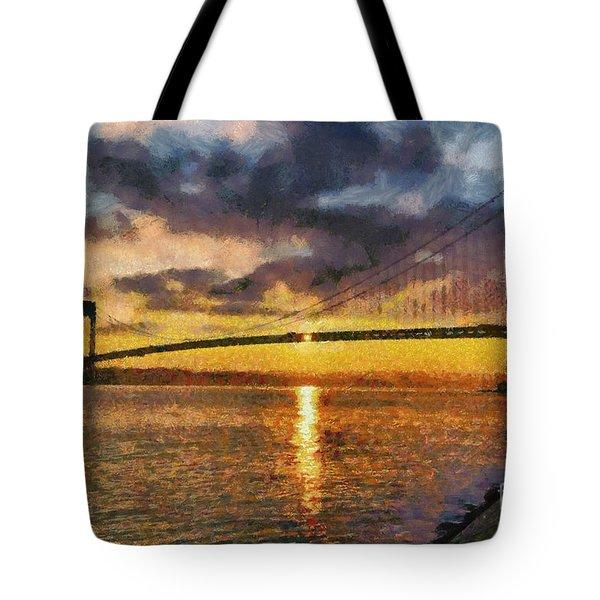Verrazano Bridge During Sunset Tote Bag