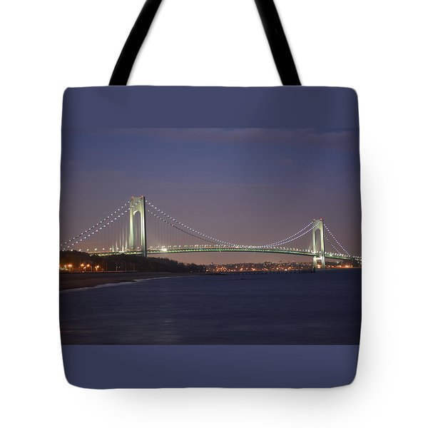 Verrazano Narrows Bridge At Night Tote Bag