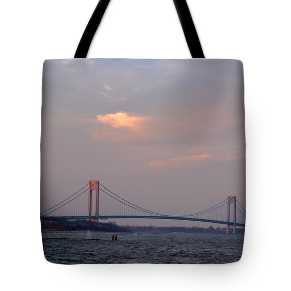 Verrazano Narrows Bridge At Sunset Tote Bag