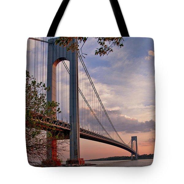 Verrazano Narrows Bridge Tote Bag by Jean-Pierre Ducondi