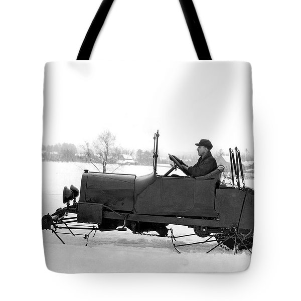 Very Early Snowmobile Tote Bag by Underwood Archives