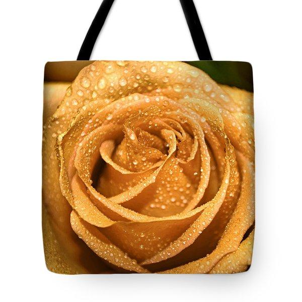 Very Wet Rose Tote Bag by Debbie Portwood