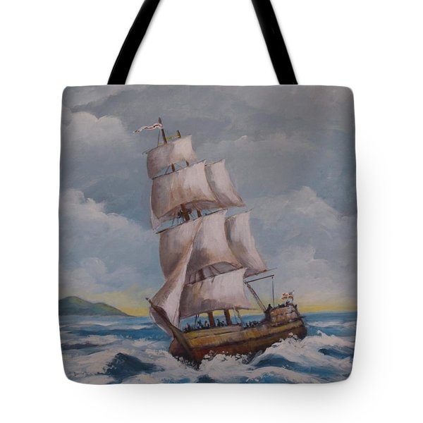 Vessel In The Sea Tote Bag