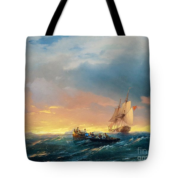 Vessels In A Swell At Sunset  Tote Bag
