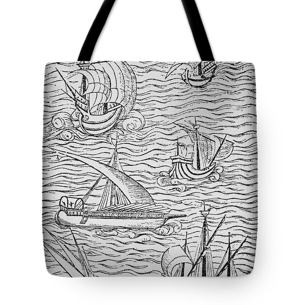 Vessels Of Early Spanish Navigators From The Narrative And Critical History Of American Tote Bag by English School