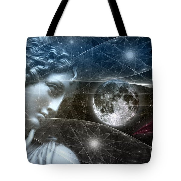 Tote Bag featuring the digital art Vestal Moon by Rosa Cobos