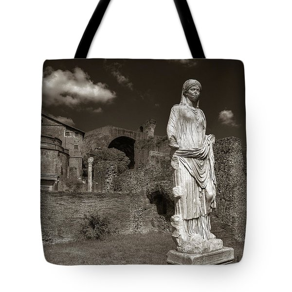 Vestal Virgin Courtyard Statue Tote Bag