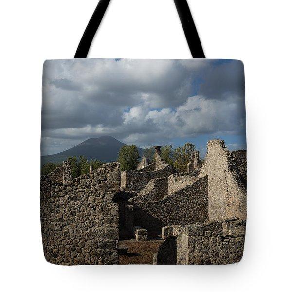 Vesuvius Towering Over The Pompeii Ruins Tote Bag