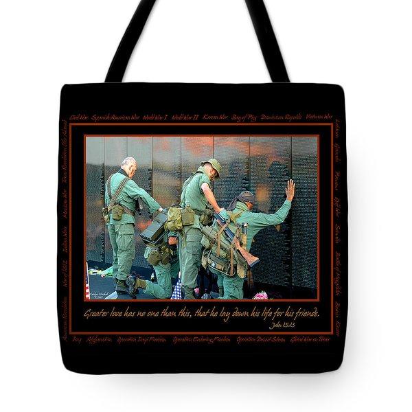 Veterans At Vietnam Wall Tote Bag