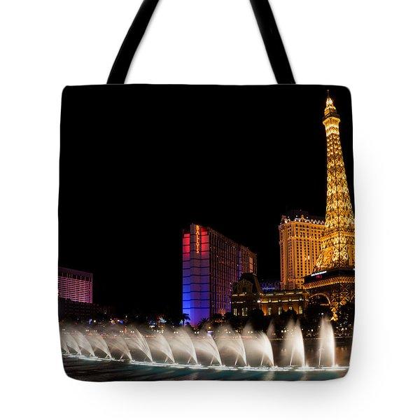Vibrant Las Vegas - Bellagio's Fountains Paris Bally's And Flamingo Tote Bag