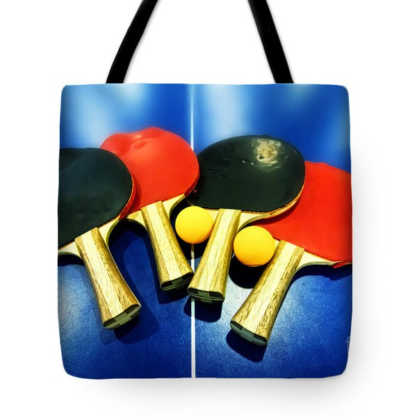 Vibrant Ping-pong Bats Table Tennis Paddles Rackets On Blue Tote Bag