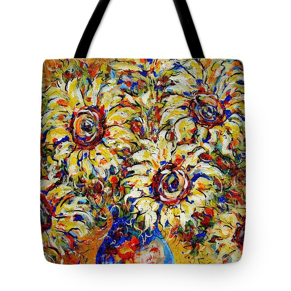 Tote Bag featuring the painting Vibrant Sunflower Essence by Natalie Holland