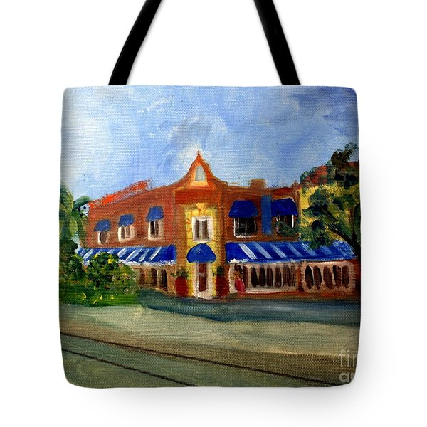 Vic And Angelos In Downtown Delray Beach Tote Bag by Donna Walsh