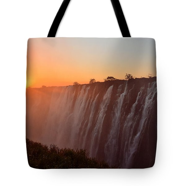 Victoria Falls At Sunset Tote Bag by Jeff at JSJ Photography
