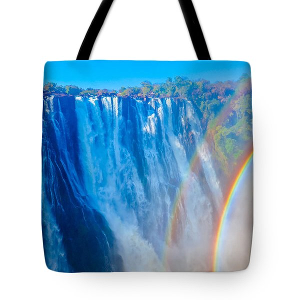 Victoria Falls Double Rainbow Tote Bag by Jeff at JSJ Photography