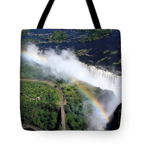 Rainbow Over Victoria Falls  Tote Bag by Aidan Moran
