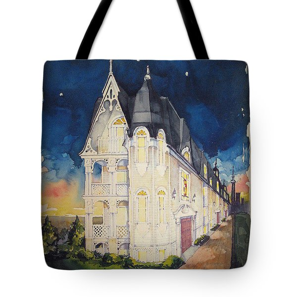 The Victorian Apartment Building By Rjfxx. Original Watercolor Painting. Tote Bag