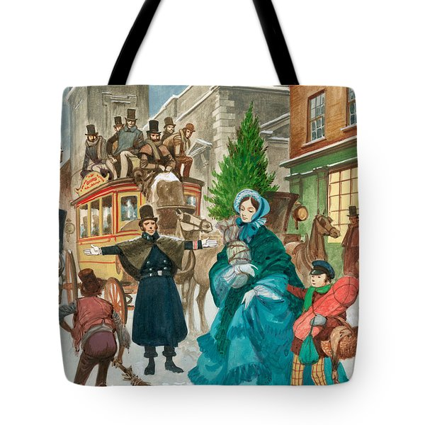 Victorian Christmas Scene Tote Bag by Peter Jackson