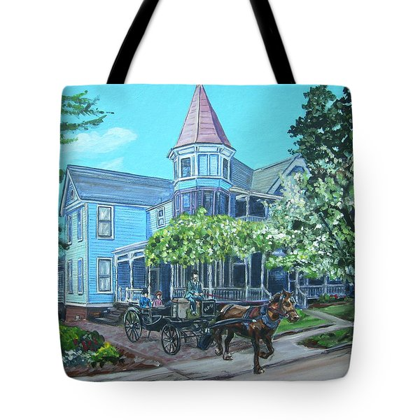 Tote Bag featuring the painting Victorian Greenville by Bryan Bustard